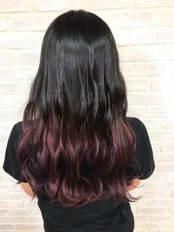 ベース 黒髪 グラデーション カラー 黒髪グラデーションのカラー別アレンジ例15選!レングス別でコツを解説